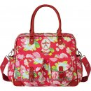 Room Seven - Diaper bag, red rose print, badge bonjour l Red