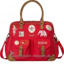 Room Seven - Diaper bag, red canvas, badges girls l Red