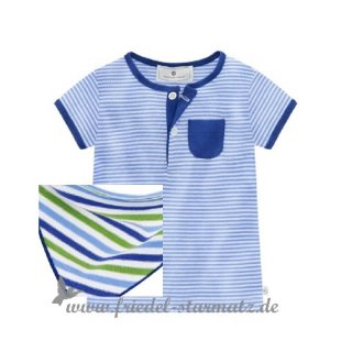 Bellybutton - Baby Kurzarmshirt geringelt l white/green/blue striped (Gr.56)